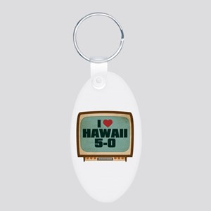 Retro I Heart Hawaii 5-0 Aluminum Oval Keychain