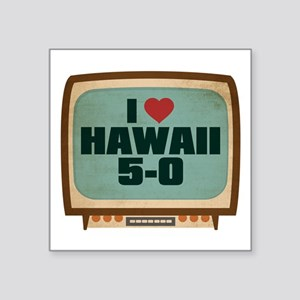 "Retro I Heart Hawaii 5-0 Square Sticker 3"" x 3"""