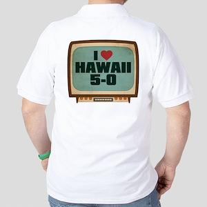 Retro I Heart Hawaii 5-0 Golf Shirt