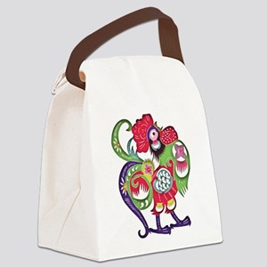 Chinese Zodiac Rooster Papercut Canvas Lunch Bag