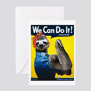 Rosie the Riveter Sloth Greeting Card