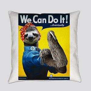 Rosie the Riveter Sloth Everyday Pillow