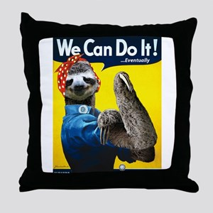 Rosie the Riveter Sloth Throw Pillow