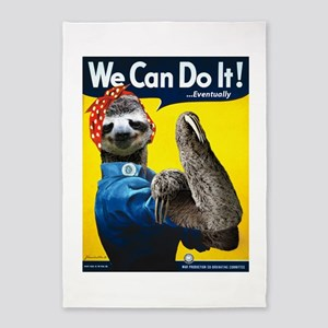Rosie the Riveter Sloth 5'x7'Area Rug