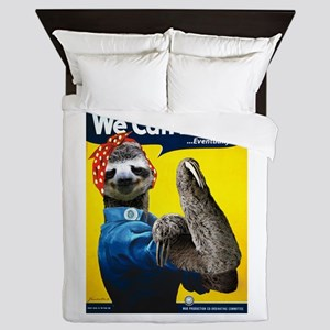Rosie the Riveter Sloth Queen Duvet