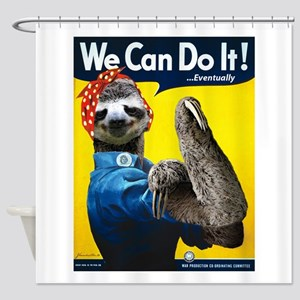 Rosie the Riveter Sloth Shower Curtain