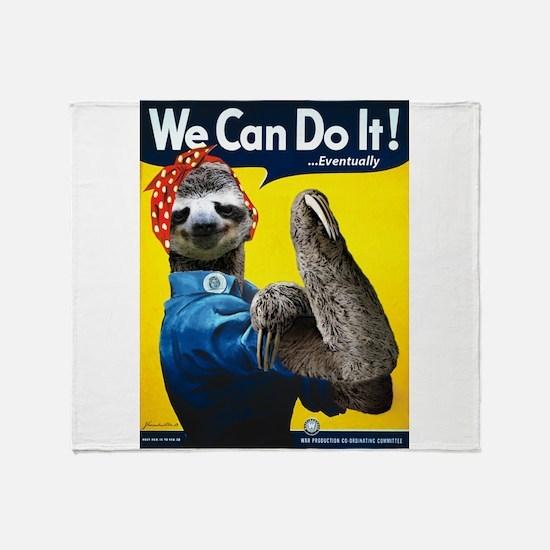 Rosie the Riveter Sloth Throw Blanket