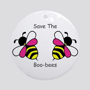 Breast Cancer Boo-Bees Round Ornament