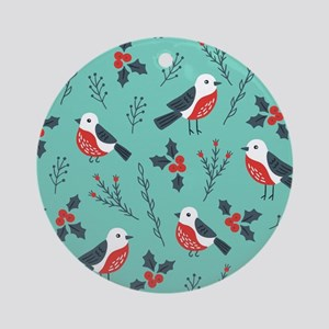 Cute Christmas birds and foliage pa Round Ornament