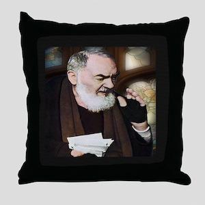 Saint Pio of Pietrelcina (Style A) Throw Pillow