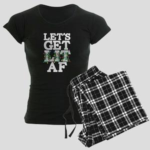Lets Get Lit AF Women's Dark Pajamas