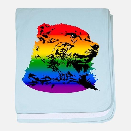 Pride Bear Rainbow baby blanket