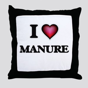 I Love Manure Throw Pillow
