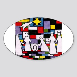 Mondrian Christmas Nativity - De Stijl - N Sticker
