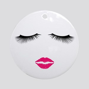 Lipstick and Eyelashes Round Ornament