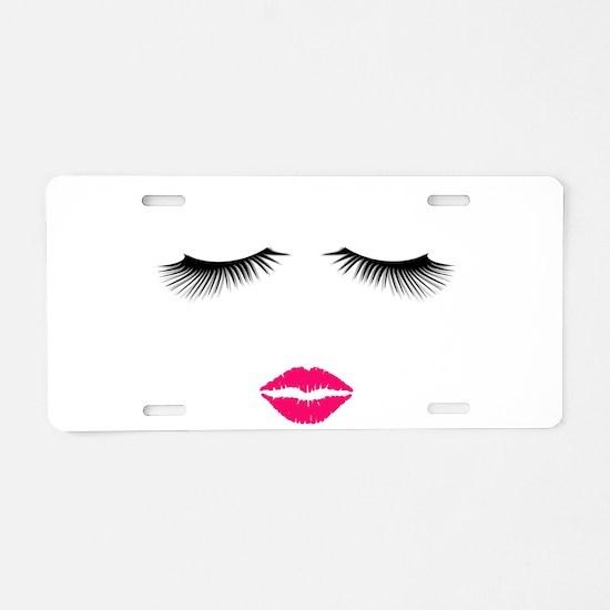 Lipstick and Eyelashes Aluminum License Plate