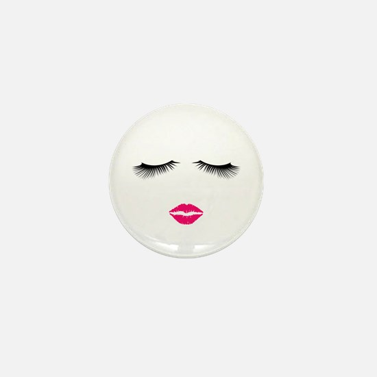 Lipstick and Eyelashes Mini Button