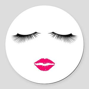 Lipstick and Eyelashes Round Car Magnet