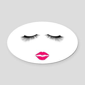 Lipstick and Eyelashes Oval Car Magnet