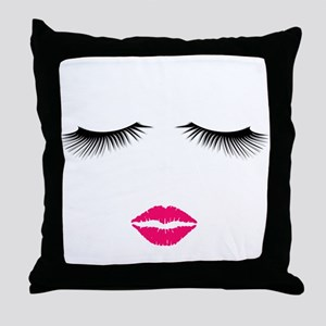 Lipstick and Eyelashes Throw Pillow