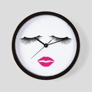 Lipstick and Eyelashes Wall Clock