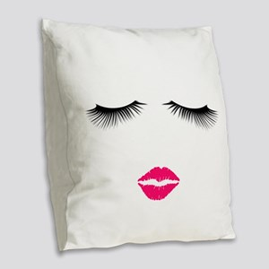 Lipstick and Eyelashes Burlap Throw Pillow