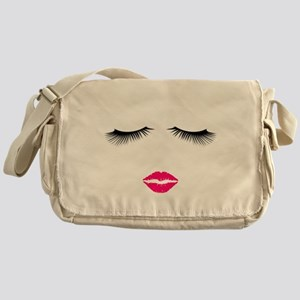Lipstick and Eyelashes Messenger Bag