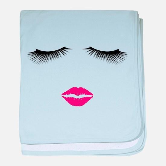 Lipstick and Eyelashes baby blanket