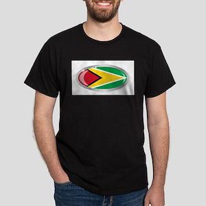 Guyana Flag Oval Button T-Shirt