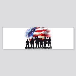 Patriotic American Flag Soldiers Ne Bumper Sticker