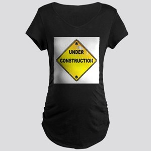 Yellow Under Construction Sign Maternity T-Shirt