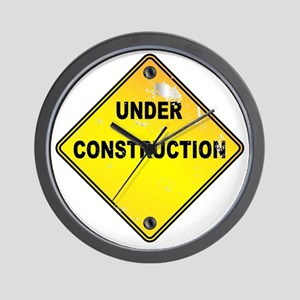 Yellow Under Construction Sign Wall Clock