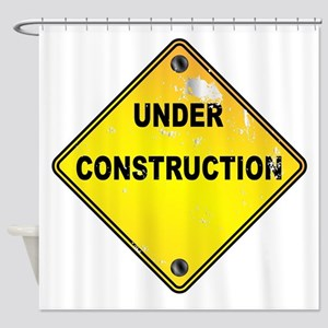 Yellow Under Construction Sign Shower Curtain