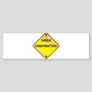 Yellow Under Construction Sign Bumper Sticker
