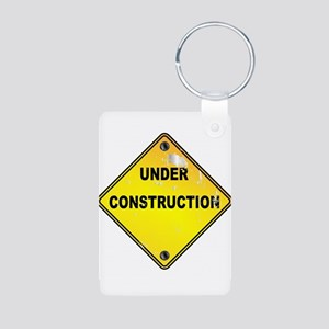 Yellow Under Construction Sign Keychains