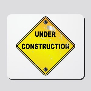 Yellow Under Construction Sign Mousepad