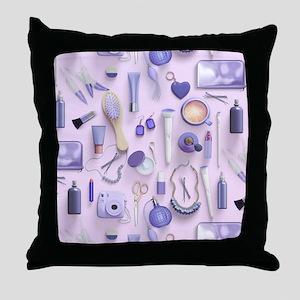 Purple Vanity Table Throw Pillow