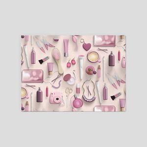 Pink Vanity Table 5'x7'Area Rug