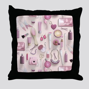 Pink Vanity Table Throw Pillow