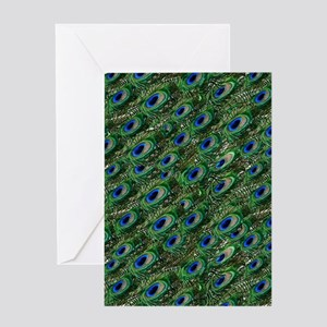 wild green peacock feathers Greeting Cards