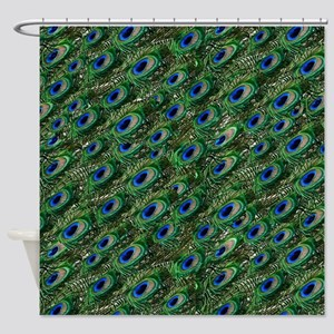wild green peacock feathers Shower Curtain