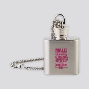 Male Breast Cancer Flask Necklace