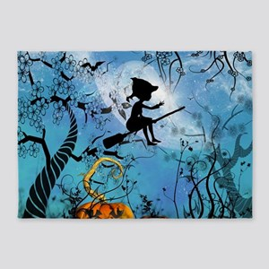 Cute witch on a broom 5'x7'Area Rug