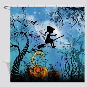 Cute witch on a broom Shower Curtain