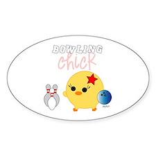 Bowling Chick Oval Sticker