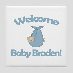 Welcome Baby Braden Tile Coaster