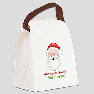 Santa I Got Grandpa Canvas Lunch Bag