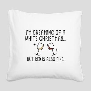White Christmas Square Canvas Pillow