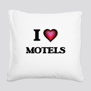 I Love Motels Square Canvas Pillow