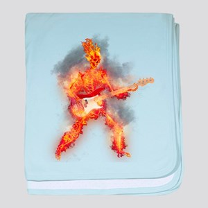 Flaming Skeleton Base Guitarist baby blanket